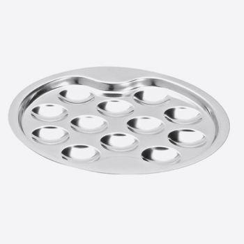 Jean Dubost plate for 12 escargots in stainless steel