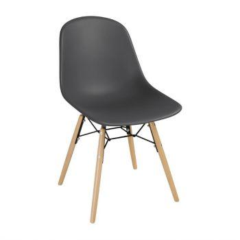 Bolero Arlo polypropyleen stoelen met houten poten grijs