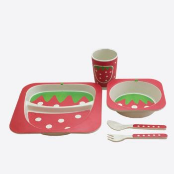 Dotz Kids set with plate; bowl; cup and cutlery in bamboo fiber Strawberry versie 2