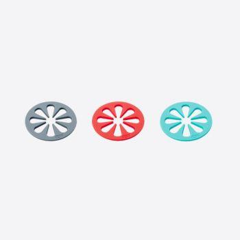 Dotz set of 4 silicone coasters by Nik Baeyens red; grey or aqua blue (12pcs/disp.)