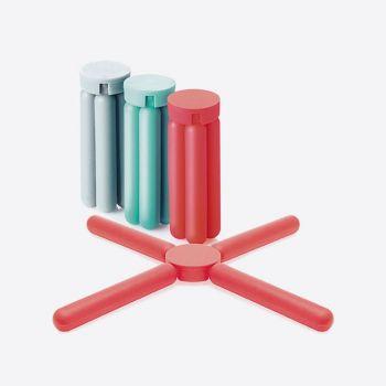 Dotz foldable silicone trivet red; grey or aqua blue (15pcs/disp.)