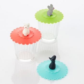 Dotz silicone lid Animals green; blue or red ø 10.5cm H 6.5cm (18pcs/display)