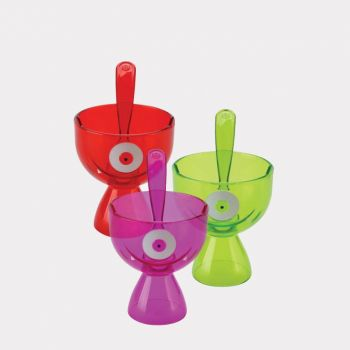 Joie Monster Fun sundae bowl with spoon in ABS purple; green or red 13.3x9.5x14.6cm