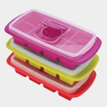 Joie ice cube tray with lid for 8 big ice cubes green; blue; red or purple 25x12.7x6cm (12 ass.)