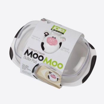Joie Moo Moo plastic butter dish with lid white and black 18x12.3x9cm
