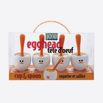 Joie Egghead set of 4 egg cups with spoon in plastic white