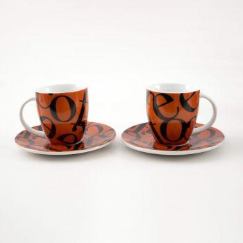 Könitz set of 2 mugs Senseo Classic Script black/brown