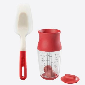 Lékué set of batter shaker with spatula red