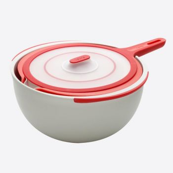 Lékué set of 3 mixing bowls and lid in plastic red 1.4L; 2.6L & 3.8L