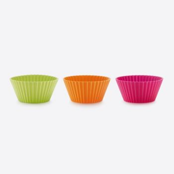 Lékué set of 12 ribbed silicone muffin molds pink; orange and green Ø 7cm H 3.5cm