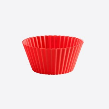 Lékué set of 12 ribbed silicone muffin molds red Ø 7cm H 3.5cm