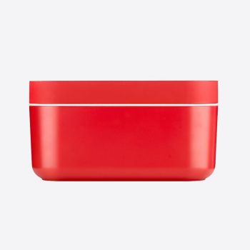 Lékué rectangular ice bucket with ice cube tray in silicone and ABS red 22.5x12.5x11.6cm