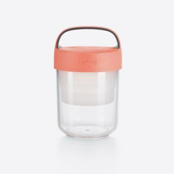 Lékué snackbox Jar To Go with colapsable compartiment in Tritan pink 400ml