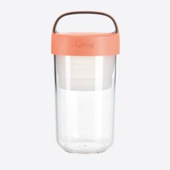 Lékué lunchbox Jar To Go with colapsable compartiment in Tritan pink 600ml