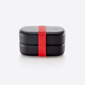 Lékué double lunchbox in plastic with silicone band black and red 1L