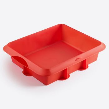 Lékué square pie mold in silicone red 24x20x6.5cm