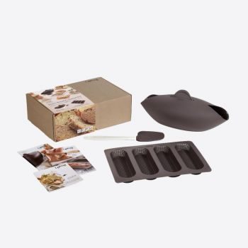Lékué bread making set with bread maker; spatula and baking mold for 4 baguettes in silicone