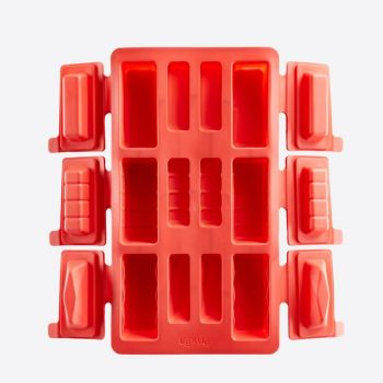Lékué baking mold for 6 round mini buches in silicone red 29x17x3.7