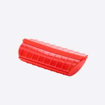 Lékué steam case for microwave for 1-2 persons in silicone red 24x12.4x5cm