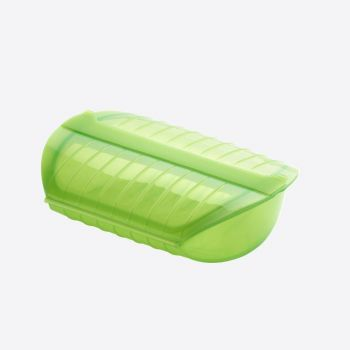 Lékué steam case for microwave for 3-4 persons with tray in silicone green