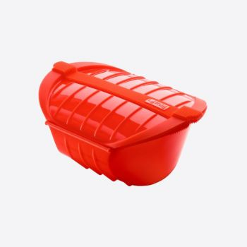Lékué steam case for microwave for 3-4 persons in silicone red 26x19x11.5cm