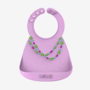 Make My Day silicone baby bib jewels lila