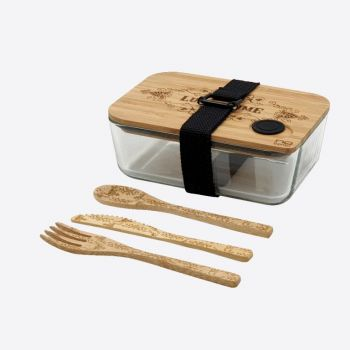 Nubento 6 piece set of glass lunch box with bamboo lid and cutlery Lunch Time