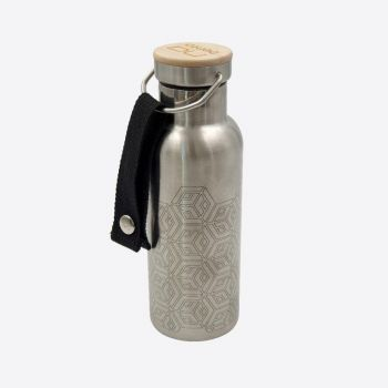 Nubento stainless steel vacuum flask with bamboo lid Geometrical 500ml