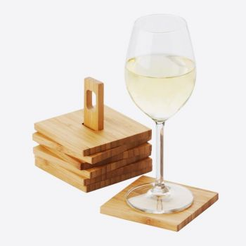 Point-Virgule bamboo coasters 6 pieces with holder 8.8x8.8cm
