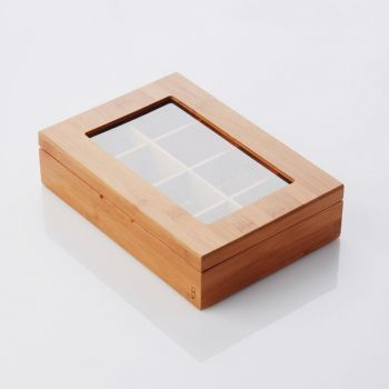 Point-Virgule bamboo tea box with 8 compartments 29x20x7.3cm