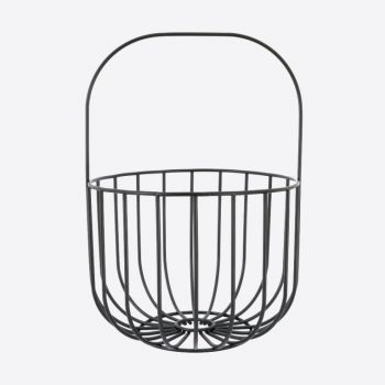 Point-Virgule Wire fruit basket with handle black 22.5x32.5cm