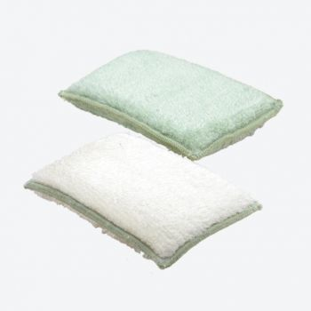Point-Virgule set of 2 bamboo fiber sponges green and white 13x9x2cm (per 6pcs)