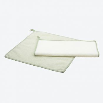 Point-Virgule set of 2 microfiber cloths green and white 30x30cm (per 6pcs)