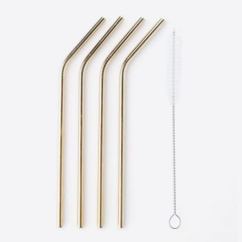 Point-Virgule set of 4 cocktail drinking straws stainless steel gold with cleaning brush 20.5cm
