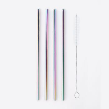 Point-Virgule set of 4 cocktail drinking straws stainless steel rainbow with cleaning brush 21.5cm