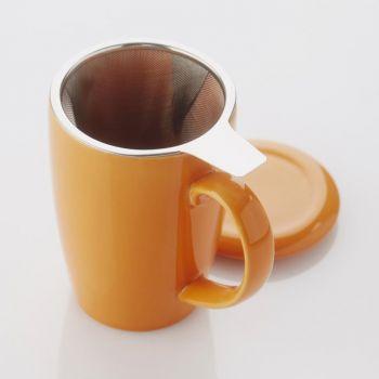Point-Virgule tea mug with infuser & lid orange 400ml