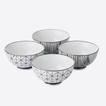 Point-Virgule set of 4 porcelain cups with stripes & geo print ø 11.5cm