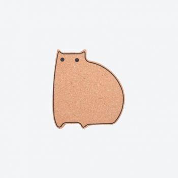 Point-Virgule cork trivet cat 14.1x12.9x1cm