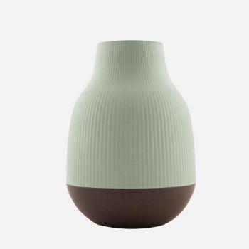 Point-Virgule bamboo fiber vase sage green and dark grey ø 18.1cm H 25cm