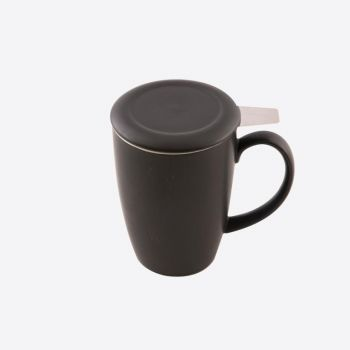 Point-Virgule tea mug with infuser & lid matt black 400ml