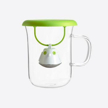 QDO tea egg with glass tea cup Birdie Swing Nest green 400ml