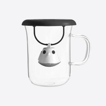 QDO tea egg with glass tea cup Birdie Swing Nest black 400ml