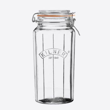 Kilner faceted glass clip top jar 1.8L