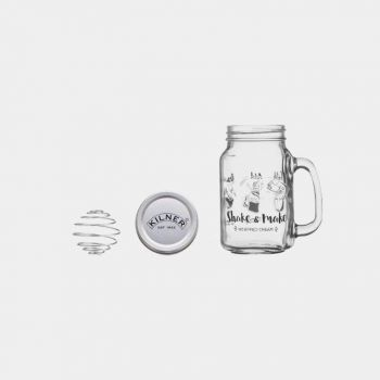 Kilner Shake and Make set for whipped cream - 540ml jar - ss small whisk - screw top lid