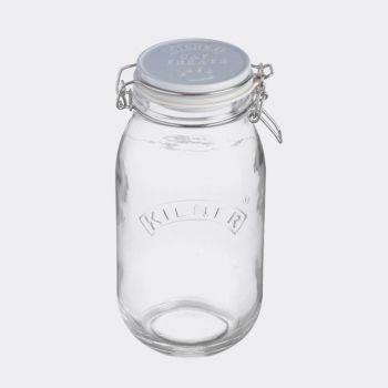 Kilner Pets round glass storage jar with clip top Cat Treats 2L