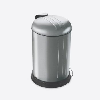 Rixx stainless steel pedal bin with soft closing cover fingerprint proof 12L