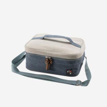 Rixx rectangular sling cooler bag dark blue and grey 27x21x12cm