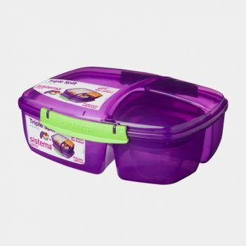 Sistema Trends lunch box Triple Split with yoghurt pot 2L (4 ass.)