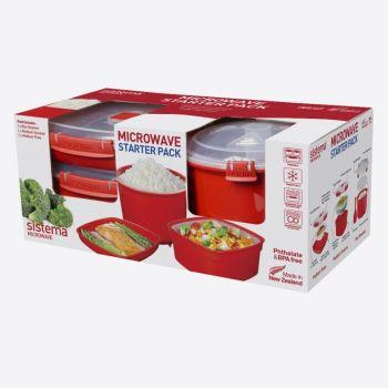 Sistema Microwave starter pack of 1x medium plate - 1x medium steamer & 1x rice cooker