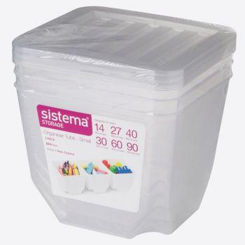 Sistema Storage set of 3 organiser bins with clear lid1.3L (per 6pcs)